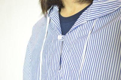 画像1: 【MORE SALE】 A VONTADE (アボンタージ) Hooded Pullover Shirts [WHITE/NAVY STRIPE]