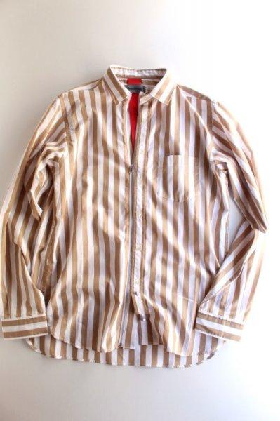 画像1: Beautilities(ビューティリティーズ) Utility Zip Shirt  [Beige Stripe] (1)