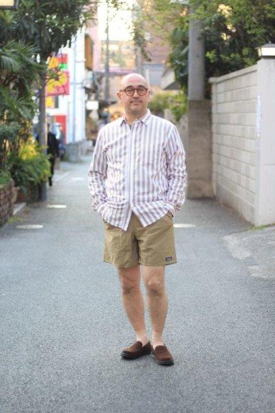 画像1: Beautilities(ビューティリティーズ) Utility Zip Shirt  [Beige Stripe]