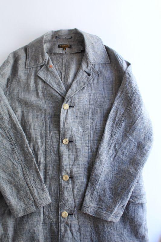 画像1: 【MORE SALE】*A VONTADE (アボンタージ) Linen Duster Coat  [NAVY GREN CHECK] (1)