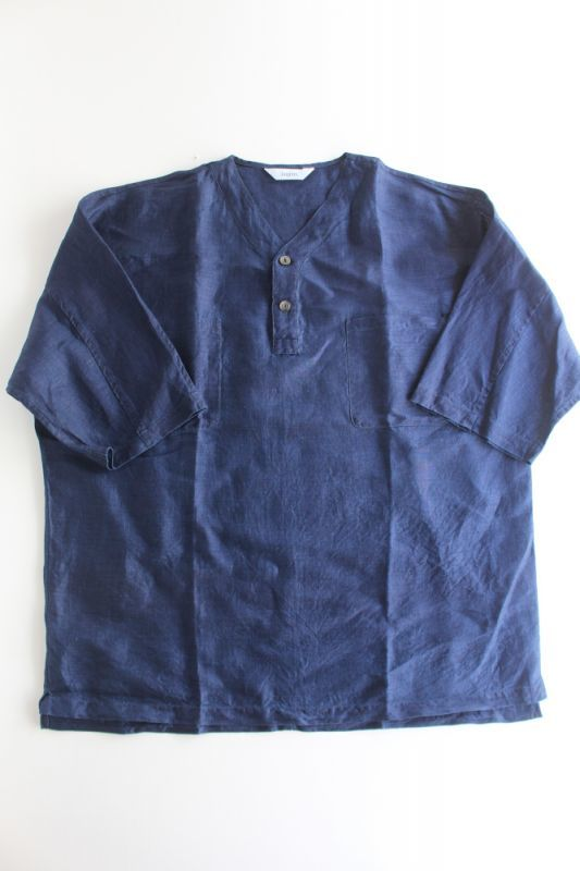 画像1: 【MORE SALE】FUJITO (フジト) Henley Neck Shirt [INDIGO] (1)
