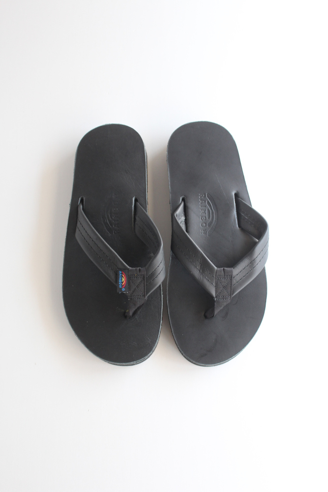 画像1: RAINBOW SANDALS(レインボーサンダル)Double Layer Classic Finshed Leather〔BLACK〕 (1)