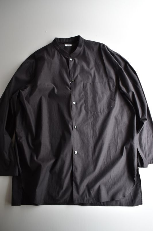 画像1: blurhms (ブラームス) High Count Chambray Stand-up Collar Shirt [CHARCOAL] (1)