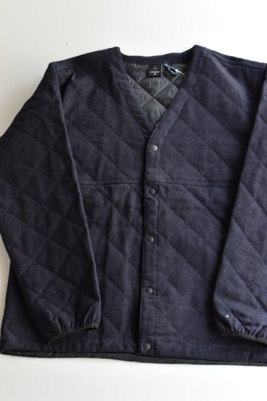 画像1: 【MORE SALE】AXESQUIN (アクシーズクイン) DENIM QUILTED EASY CARDIGAN [INDIGO]  (1)