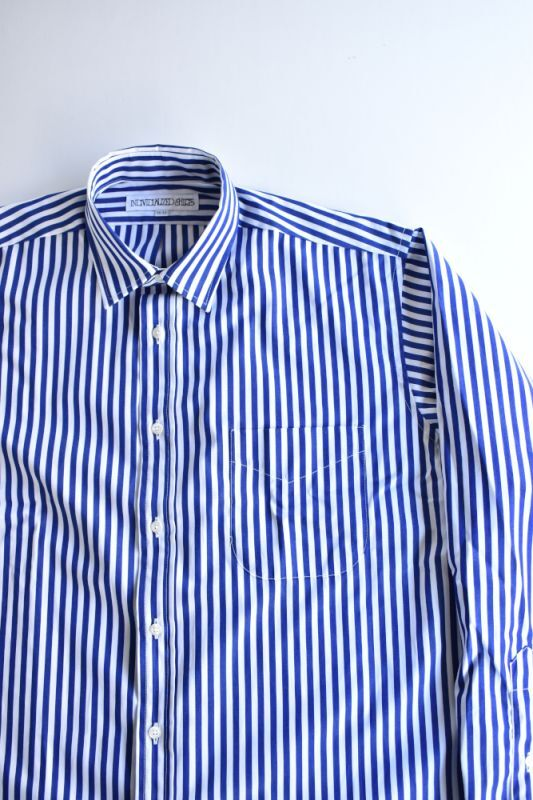 画像1: INDIVIDUALIZED SHIRTS (インディビジュアライズドシャツ) Over Sized Small Regular Collar Shirt-BARBER STRIPE-〔別注〕【NAVY】 (1)