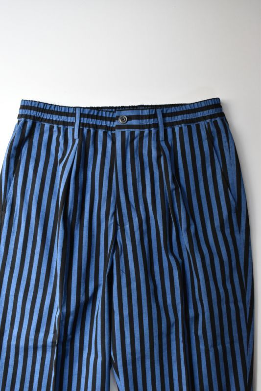 画像1: Scye (サイ) Striped Cotton Drawstring Trousers [BLUE/BLACK] (1)