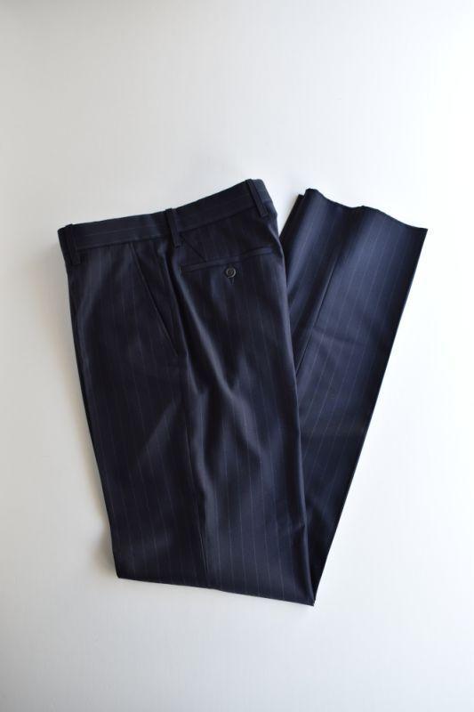 画像1: Scye (サイ) Striped Wool Tailored Trousers [NAVY] (1)