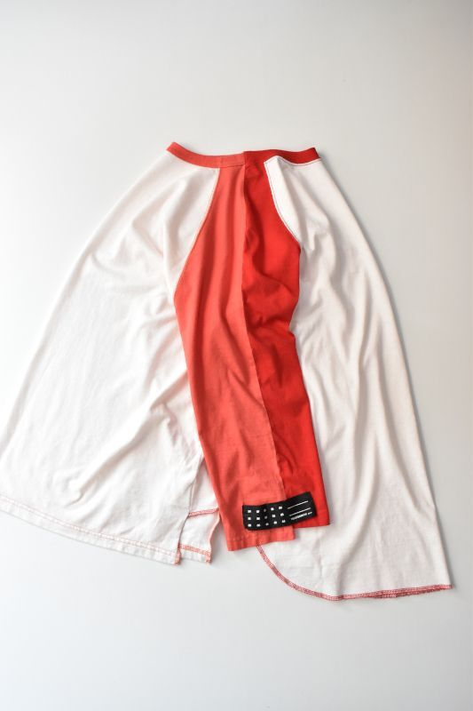 画像1: TRAINERBOYS(トレーナーボーイズ) ALL ROUND 3/4 T-SHIRT [WHITE/RED] (1)