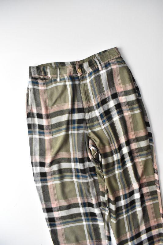 画像1: 【SALE】FIVE BROTHER+niche (ファイブブラザー+ニッチ) Rayon Easy Pants [GREEN CHECK] (1)