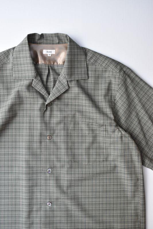 画像1: Scye (サイ) Wool Checked Camp Collar Shirt [PINE FOREST] (1)